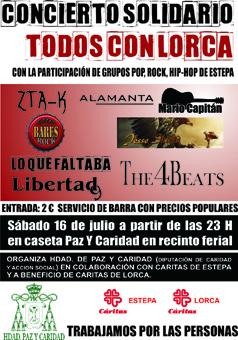 """Cartel concierto solidario """"Todos con Lorca"""""""
