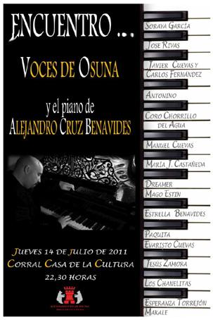 Cartel anunciador del encuentro de voces de Osuna con el piano de Alejandro