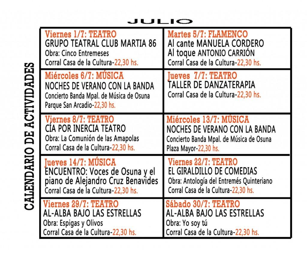 Actividades culturales en julio en Osuna.