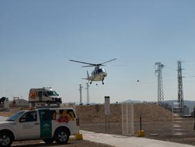 vuelo de reconocimiento del helicóptero medicalizado