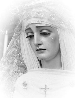 Imagen de la Virgen de la Paz. Foto: twitter oficial de la Hermandad del Dulce Nombre de Estepa.