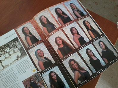 Detalle de la revista de feria de Estepa en la que aparecen las fotos de las aspirantes a Reina de las Fiestas