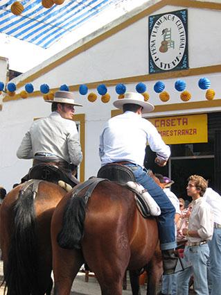 Caballistas en la Feria de Estepa, el domingo