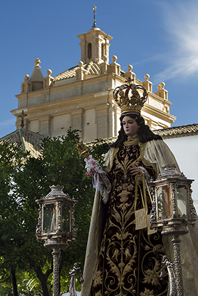 La Virgen del Carmen, de vuelta a su templo el pasado domingo. Foto: Miguel Ángel Carmona.