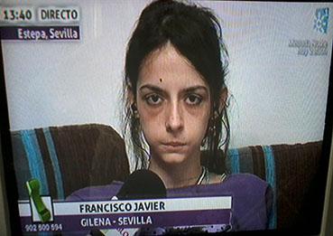 La joven estepeña que ha pedido ayuda en televisión, en un momento del programa