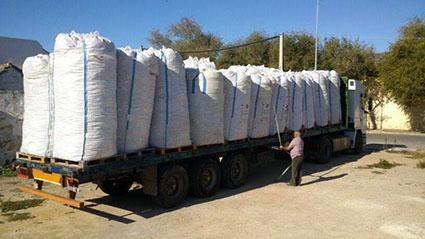 El último camión que ha partido de Osuna, cargado de tapones solidarios para Paula y María