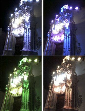 Los cuatro colores de la fachada del Carmen, con el blanco que predominará el primero a la izquierda