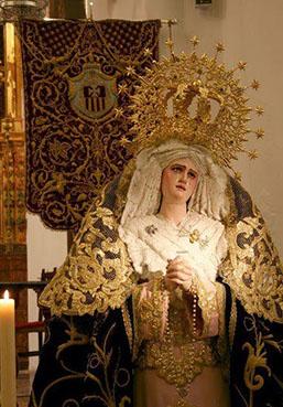 Virgen de los Dolores de la Hermandad de Jesús Caído de Osuna. Foto: web de la cofradía.