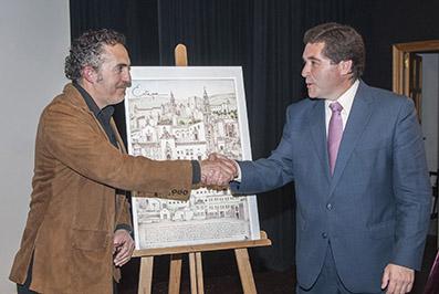 """Eusebio Rico, autor del póster """"Patrimonio de Estepa"""" y Miguel Fernández, alcalde de Estepa"""
