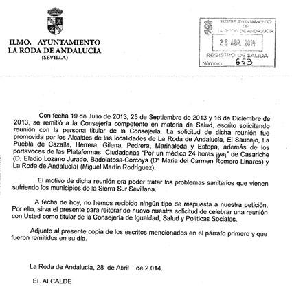 Imagen de la solicitud de reunión cursada por el Consistorio rodense con fecha de ayer, 28 de abril