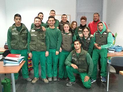 Alumnos participantes en la escuela taller Pedrera Verde