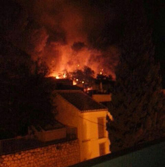 Una de las imágenes del Cerro ardiendo el pasado sábado que circuló esa noche por redes sociales