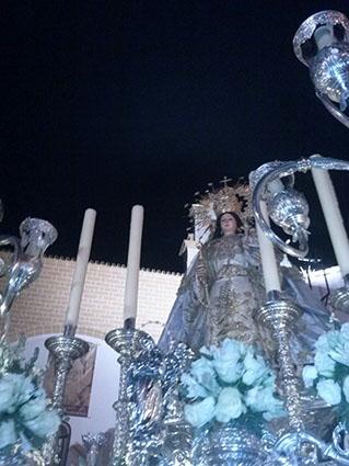 La Virgen de Consolación, el lunes a su salida del templo