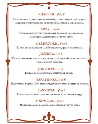 Imagen de la carta de tapas de Casa Curro con nombres relativos a Juego de Tronos