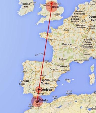 Imagen del recorrido nocturno que haría a diario la avioneta misteriosa, publicada por el periódico Ideal de Granada